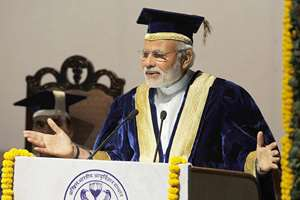 Prime Minister, Narendra Modi delivering the Convocation Address at the 42nd Convocation of the All India Institute of Medical Sciences, in New Delhi.