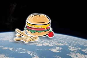 Junk food in space! A London-based start-up has successfully launched the first ever burger and chips into space using a helium balloon the size of a two-bedroom house.
