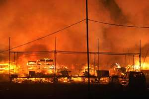 A major fire broke that broke out in a crackers market in Faridabad.