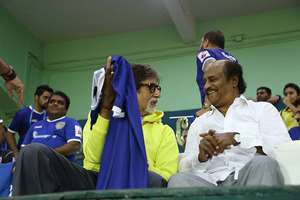 Actors Amitabh Bachchan and Rajnikanth during the Indian Super League match between Chennaiyin FC and Kerala Blasters FC in Chennai.