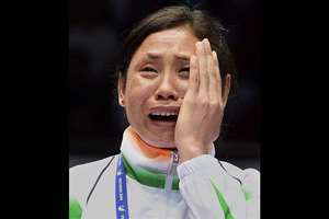 A file photo of boxer L Sarita Devi who has been suspended by AIBA for an indefinite period because of her Asian Games protest. Her coach GS Sandhu and Indian chef-de-mission AJ Sumariwalla also faced the brunt. AIBA will not allow any of them to participate at all levels of various competitions, events and meetings until further notice.
