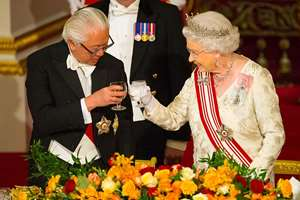 President of Singapore Tony Tan and Britain's Queen Elizabeth II make a toast during a State Banquet at Buckingham Palace in London. Singapore's President Tony Tan began the first full day of engagements in the first state visit by a Singaporean president to Britain.