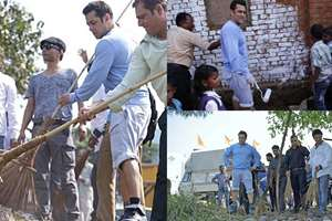 Combo image: Actor Salman Khan accepted the invite of Prime Minister Narendra Modi for 'Swachh Bharat Mission' and weilded a broom in Karjat, Mumbai.