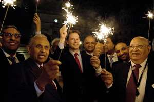 Britain's Deputy Prime Minister Nick Clegg celebrates Diwali with Indian-origin parliamentarians and businessman in London.