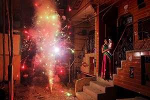 Fireworks during Diwali in New Delhi.