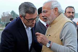 Prime Minister, Narendra Modi with Jammu and Kashmir Chief Minister Omar Abdullah in Srinagar.