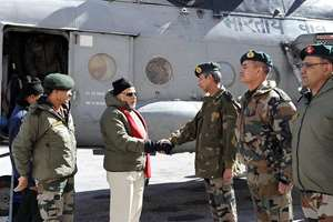 Prime Minister Narendra Modi is received on his arrival at Siachen Base Camp on Thursday. Army Chief Gen Dalbir Singh is also seen.