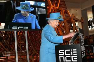 Britains Queen Elizabeth II sends the first royal tweet under her own name to declare the opening of the new Information Age Galleries at the Science Museum, South Kensington, London. Normally a plaque is unveiled to herald the launch of a new project, but after touring the attraction dedicated to the history of communication and information the Queen touched a tablet screen to send her message to the world.