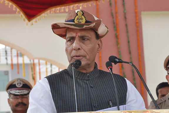 Union Home Minister, Rajnath Singh addressing at the ITBP Raising Day Function, at Surajpur Camp, Greater Noida.