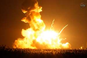 An unmanned Orbital Sciences Corp.'s Antares rocket explodes shortly after takeoff at Wallops Flight Facility on Wallops Island, Va. No injuries were reported following the first catastrophic launch in NASA's commercial spaceflight effort.
