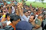 Police stop the BJP Central team led by party Vice President Mukhtar Abbas Naqvi to enter violence-hit area of Makra village in Birbhum district of West Bengal.