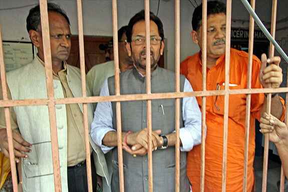 BJP Vice-President Mukhtar Abbas Naqvi and MPs Kirti Azad and Udit Raj after they were arrested for trying to enter the violence-hit area of Makra village under Parui in Birbhum district of West Bengal.