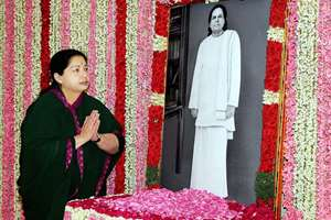 AIADMK supremo J Jayalalitha pays tribute to Pasumpon Muthuramalinga Thevar, one of the five founding fathers of the Forward Bloc and a close aide of Subhas Chandra Bose, on his 107th birth  anniversary in Chennai.