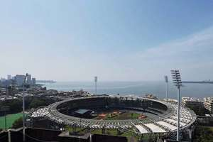 Aerial view of the Wankhede stadium after the preparation for swearing in ceremony gets completed, in Mumbai.