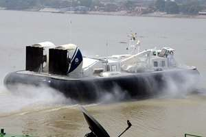 The Navy hovercraft carrying West Bengal Chief Minister Mamata Banerjee to Sagar Island, Sundarbans from Millennium Park Jetty at the bank of river Ganga, Kolkata.