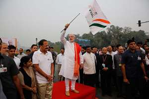Prime Minister Narendra Modi flags off a run for unity to mark the birth anniversary of Indian freedom fighter and first Home Minister of Independent India Sardar Vallabhbhai Patel in New Delhi.