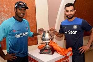 Captain Virat Kohli and Sri Lankan Captain Angelo Mathews unveil the ODI Series Trophy on the eve of their 1st ODI Match at Barabati Stadium in Cuttack, Odisha.