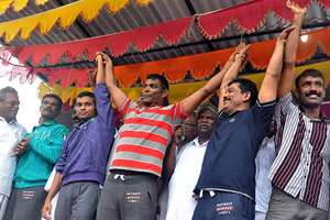 Five fishermen who arrived from Delhi after getting released from Sri Lankan Jail following Presidential pardon for alleged drug trafficking, being given a rousing reception by families, friends and relatives at Thangachimadam in Rameswaram.