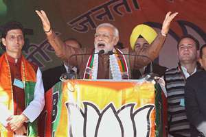 Prime Minister Narendra Modi during an election rally in Kishtwar district about 240km from Jammu.