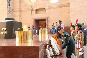 Director General NCC, Lieutenant General Aniruddha Chakravarty laying wreath at Amar Jawan Jyoti in India Gate, on the occasion of the 66th Anniversary of National Cadet Corps, in New Delhi.