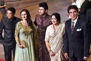Actor Raj Babbar with family at Arpita Khan and Aayush Sharma wedding reception in Mumbai on Friday night 21 Nov. 2014.