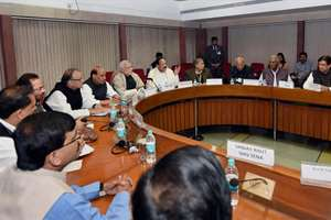 Prime Minister Narendra Modi with cabinet ministers M Venkaiah Naidu, Rajnath Singh, Arun Jaitley and other leaders during an all party meeting in New Delhi.