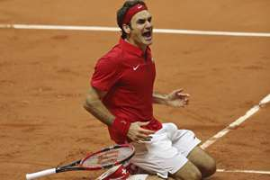 Switzerland's Roger Federer after defeating France's Richard Gasquet during the Davis Cup final at the Pierre Mauroy stadium in Lille, northern France. Switzerland won 3-1 to get the Davis Cup.