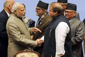 Prime Minister, Narendra Modi shakes hands with the Prime Minister of Pakistan, Nawaz Sharif, at the 18th SAARC Summit, in Nepal.