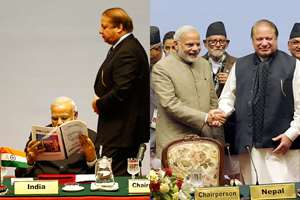 Combo: First nothing, then finally handshake for Prime Minister, Narendra Modi and Prime Minister of Pakistan, Nawaz Sharif, at the 18th SAARC Summit, in Nepal.