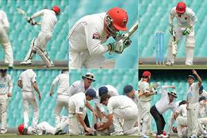 Combo photo: Australian cricketer Phillip Hughes after he was struck in the head by a bouncer during day one of the Sheffield Shield match between New South Wales and South Australia at Sydney Cricket Ground on Tuesday November 25, 2014, in Sydney.
