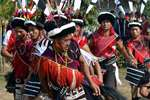 Naga tribesmen perform traditional dance during Ngada festival, which marks end of the harvest season, in Dimapur.