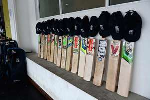 England cricket team's bats outside their dressing room in memory of Phillip Hughes.