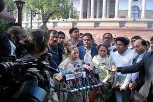 West Bengal Chief Minister Mamata Banerjee addresses media at the Parliament House in New Delhi.