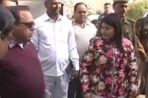 Bulandshahr DM B.Chandrakala scolds officials, contractor for shoddy road work. 