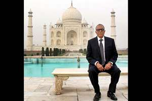 President of Bangladesh Abdul Hamid poses during a visit to Taj Mahal in Agra.