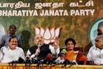 """BJP President Amit Shah along with Tamil Nadu BJP state president Tamilisai Soundararajan and other senior leaders addresses the media at party headquarters """"Kamalalayam"""" in Chennai."""