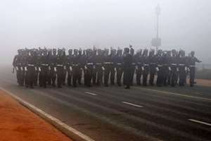 IAF soldiers march during a rehearsal for the upcoming  Republic Day parade in New Delhi.