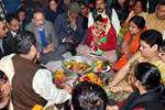 BJP Chief Ministerial candidate Kiran Bedi and Union Science and Technology Minister Harsh Vardhan offering pooja during the inauguration of election office at Krishna Nagar, in New Delhi.
