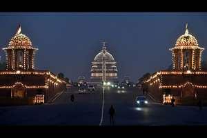Illuminated Raisina Hill on the occasion of Republic Day, in New Delhi.