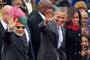 Prime Minister Narendra Modi with US President Barack Obama and first lady Michelle Obama at the 66th Republic Day parade in New Delhi.