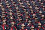 Army soldiers march during the Republic Day parade, in New Delhi.