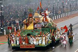 The tableau representing Maharashtra moves past during the Republic Day parade in New Delhi.
