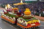 The tableau of CPWD passes through the Rajpath during the 66th Republic Day Parade 2015, in New Delhi.