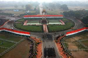 A bird's eye view of Rajpath, during the 66th Republic Day Parade 2015, in New Delhi.