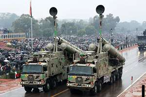 Brahmos Weapon System on display during the 66th Republic Day Celebration at Rajpath, in New Delhi.