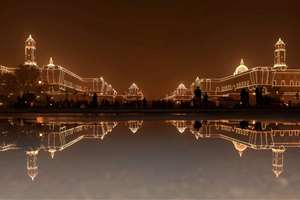 An illuminated North Block and South Block in New Delhi on the occasion of Republic Day.