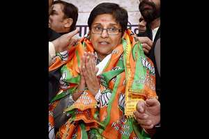 BJP Chief Ministerial candidate Kiran Bedi during a function at BJP Delhi Pradesh office in New Delhi.