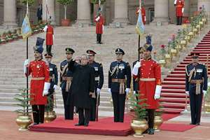 President Pranab Mukherjee before leaving for Beating Retreat ceremony from forecourt of Rashtrapati Bhawan, in New Delhi.