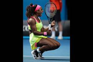 Serena Williams of the U.S. celebrates after defeating her compatriot Madison Keys in their semifinal match at the Australian Open tennis championship in Melbourne, Australia.