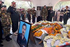 Army Chief General Dalbir Singh Suhag salutes after laying a wreath at the mortal remains of Col MN Rai during his cremation at the Delhi Cantt, in New Delhi. Colonel Rai lost his life fighting terrorists in Jammu and Kashmir's Tral on January 27, just a day after being awarded Yudh Seva Medal.